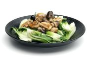 Sautéed Chinese Greens with Straw Mushroom